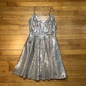 Lulu's Strappy Gold Sequin Fit and Flare Dress